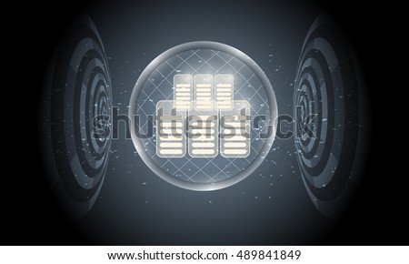 Vector futuristic background with transparent circular objects and data storage