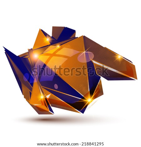 Vector futuristic object with sparkling effect, dimensional textured deformed figure isolated on white background. - stock vector