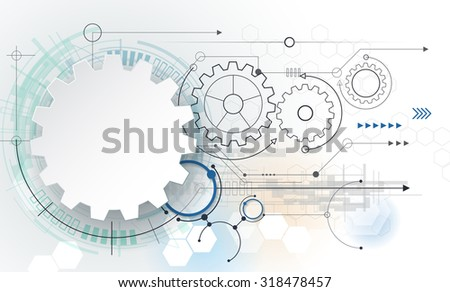 vector futuristic technology 3d white paper stock vector 318478457, Presentation templates