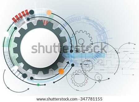 Vector futuristic technology, 3d white paper gear wheel on circuit board. Illustration hi-tech, engineering, digital telecoms concept. With space for content, web template, business tech presentation - stock vector