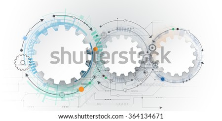 Vector futuristic technology, 3d white paper gear wheel on circuit board. Illustration hi-tech, engineering, digital telecoms concept. With space for content, web- template, business tech presentation - stock vector