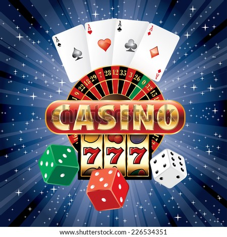 vector gambling casino elements on blue starry night - stock vector