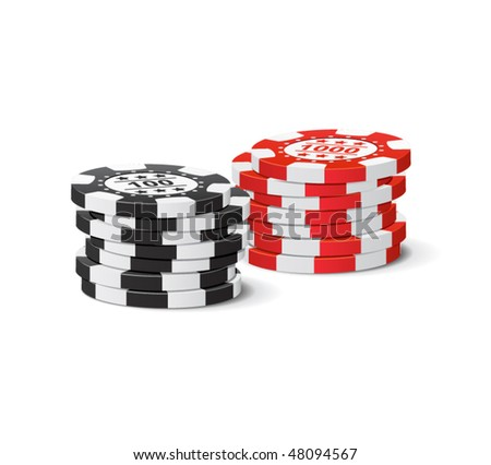 Vector gambling chips - stock vector