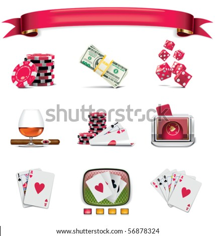 Vector gambling icon set. Part 1 (on white) - stock vector
