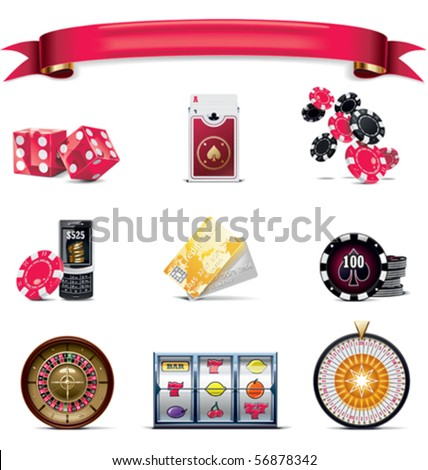 Vector gambling icon set. Part 2 (on white) - stock vector