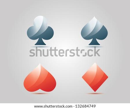 vector gambling poker playing cards symbols - stock vector