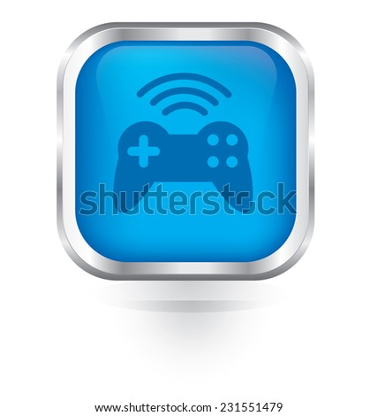 Vector game pad wireless icon glossy button  - stock vector