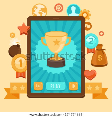 Vector gamification concept - digital device with touchscreen and game interface on it with award and achievement icons on background - stock vector