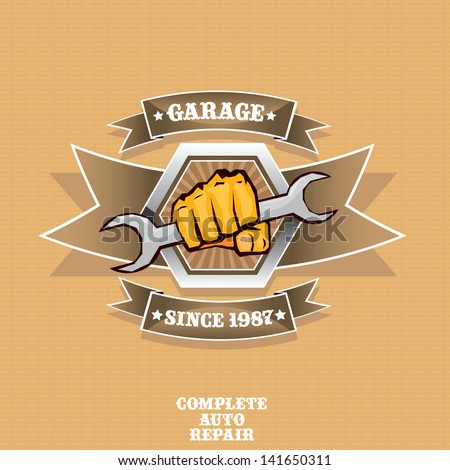 vector garage label. Vector automotive, motorcycle badge. Signs and labels. - stock vector