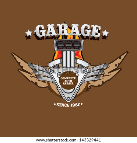 vector garage label with engine. Vector automotive, motorcycle badge. Signs and labels.