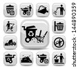 Vector Garbage And Cleaning Icons Set Created For Mobile, Web And Applications. - stock vector