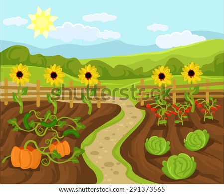 Vector garden flat cartoon illustration - stock vector
