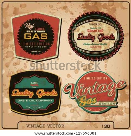 vector gas and oil station retro label set.old gasoline label collection.gasoline label vector elements. - stock vector