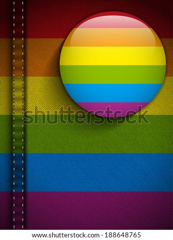 Vector - Gay Flag Button on Jeans Fabric Texture