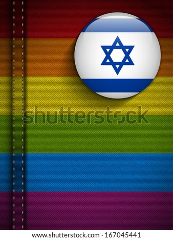 Vector - Gay Flag Button on Jeans Fabric Texture Israel - stock vector