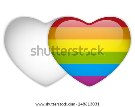 Vector - Gay Flag Heart Striped Sticker - stock vector