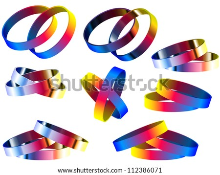 Vector - Gay Marriage Rainbow Rings and Bracelets - stock vector