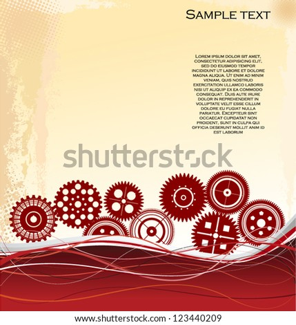 Vector gear and cogwheel background - stock vector