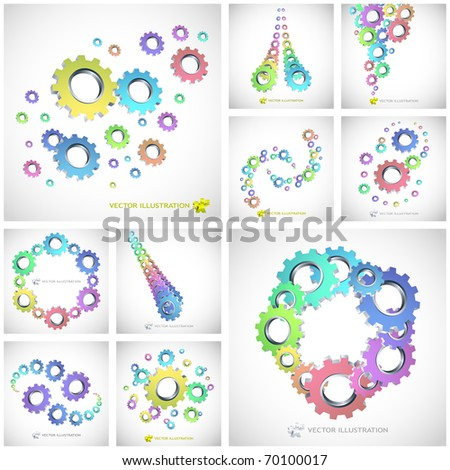 Vector gear background. Great collection - stock vector