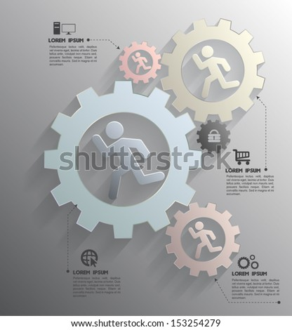 Vector gear  for business concepts / can use for info-graphic / advertising printing / website / modern template / education template / business brochure /  system diagram  - stock vector