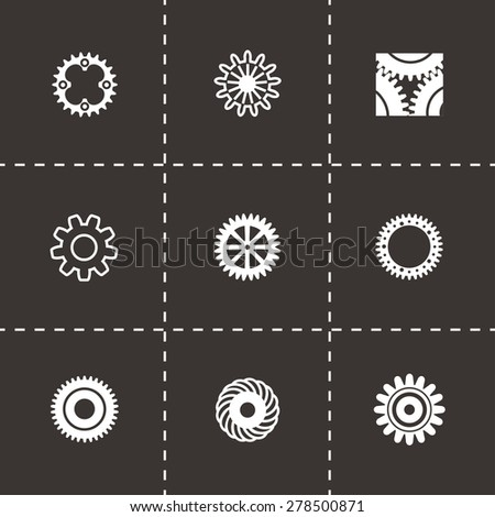 Vector Gear icon set on black background - stock vector