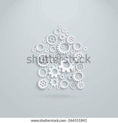 Vector gears and cogs mechanical house. Team building activity concept.  - stock vector