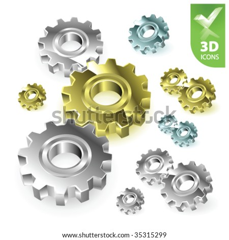 Vector gears 3D icons - stock vector