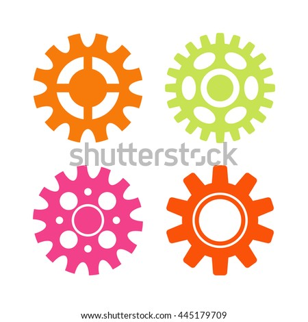 Vector gears icons set machine wheel mechanism machinery mechanical, technology technical sign. Engineering symbol, round element gears icons. Gears icons work concept, industrial design. - stock vector