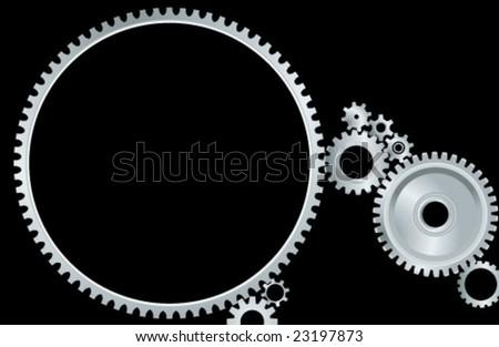 vector gears mechanism - stock vector