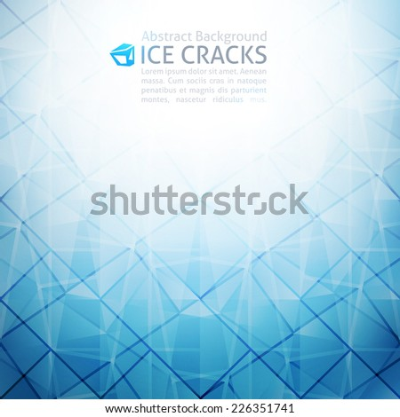 vector geometric abstract background of ice cracks - stock vector