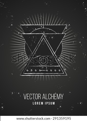 Vector geometric alchemy symbol with eye, sun, shapes and abstract occult and mystic signs. Linear logo and spiritual design. Concept of imagination, magic, creativity, religion, astrology, masonry - stock vector