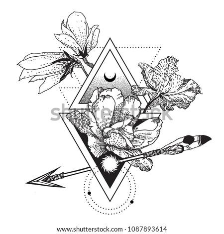 vector geometric alchemy symbol flowers moon stock vector royalty