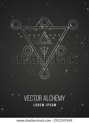 Vector geometric alchemy symbol with triangle shapes and abstract occult and mystic signs. Linear logo and spiritual design. Concept of imagination, magic, creativity, religion, astrology - stock vector