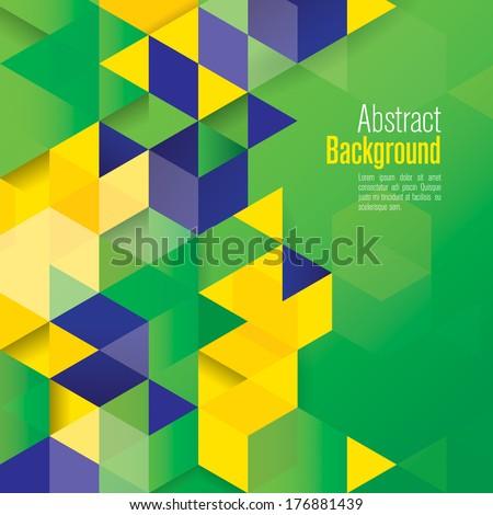 Vector geometric background in Brazil flag concept.  - stock vector