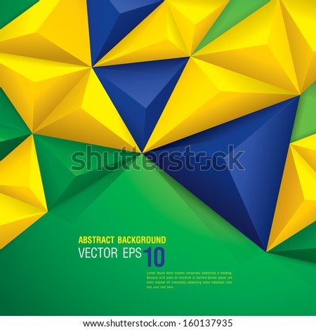 Vector geometric background in Brazil flag concept. Can be used in cover design, book design, website background, CD cover, advertising. - stock vector