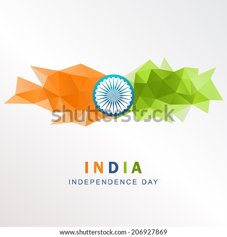 Vector geometric background in Indian flag style. Vector illustration concept Indian Independence Day celebrations. - stock vector