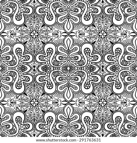 Vector geometric background seamless pattern. Tribal ethnic ornament. Islamic arabic indian motif, lace fabric repeating texture. Black and white - stock vector