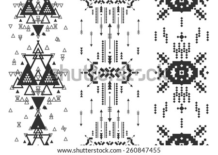 Vector Geometric background, Tribal seamless pattern, ethnic collection, aztec stile isolated on white background - stock vector