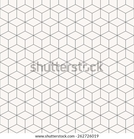 Vector geometric cubes pattern, seamless background - stock vector