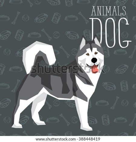 Vector geometric dogs collection with seamless background. Alaskan Malamute - stock vector
