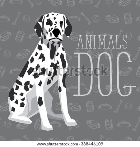 Vector geometric dogs collection with seamless background. Dalmatian - stock vector