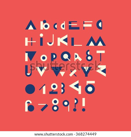 Vector geometric font - simple alphabet in modern style - typography design elements. Hipster modern font. Retro style typeface. Vector uppercase glyphs set. - stock vector