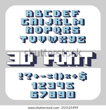 Vector geometric font. Square letters. Geek 3D type. EPS 10