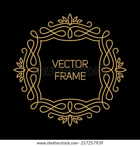 Vector geometric frame in mono line style. Art deco monogram design element - stock vector