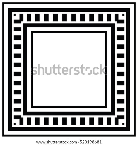 Vector geometric frame with place for text.  Abstract strong geometrical background. Simple precise geo pattern of squares and rectangles on white background. Black and white digital graphic.