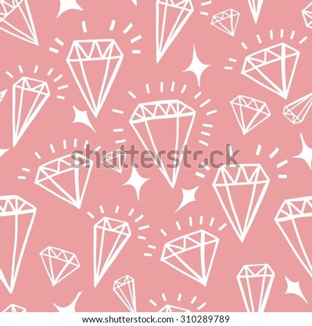 Vector geometric hand drawn seamless pattern of diamonds - stock vector