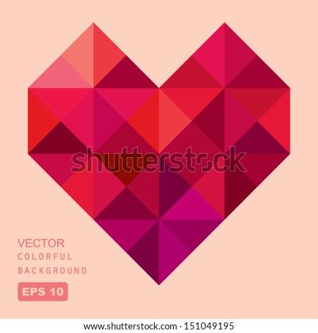 vector geometric heart - stock vector