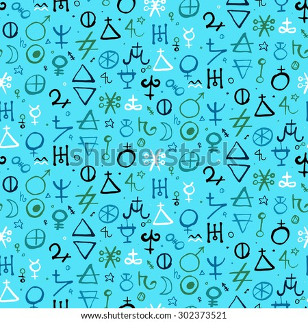 Vector geometric pattern with alchemy symbols and shapes. Hand drawn occult and mystic signs. Tarot cards back design in aqua blue color. Magic print and astrology background Modern ancient manuscript - stock vector