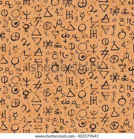 Vector geometric pattern with alchemy symbols and shapes in small size. Abstract occult, mystic signs on parchment. Back of tarot cards design. Magic print and astrology background. Ancient manuscript - stock vector