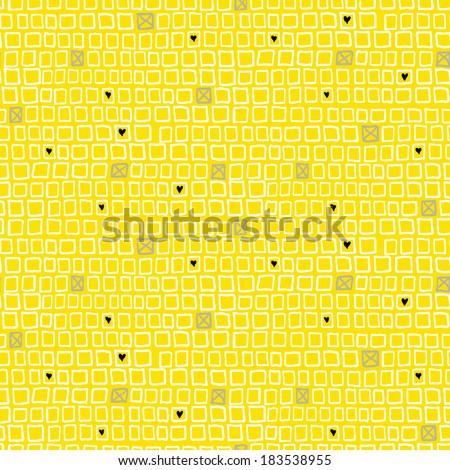 Vector geometric pattern with small hand drawn squares and randomly placed hearts and crosses - stock vector